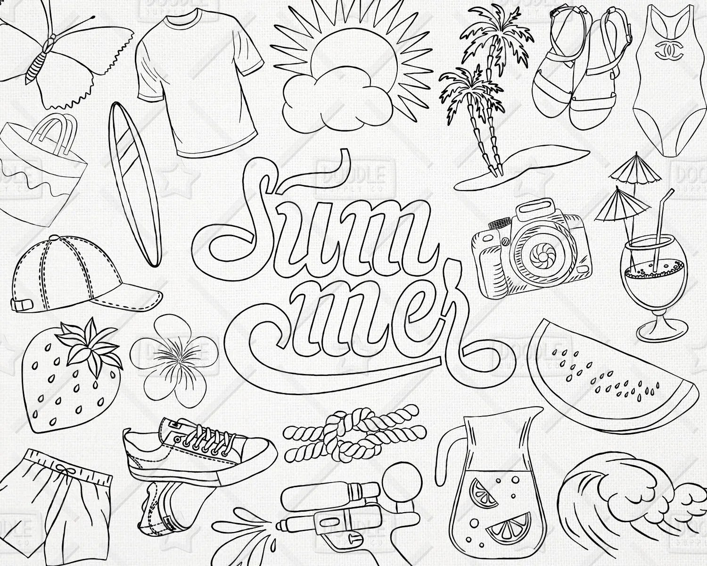 Doodle Summer Vector Pack Beach Clipart Summer Doodle