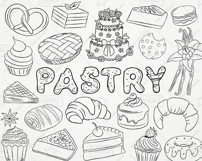 Doodle Pack Vector Patisserie Boulangerie Clipart Clipart