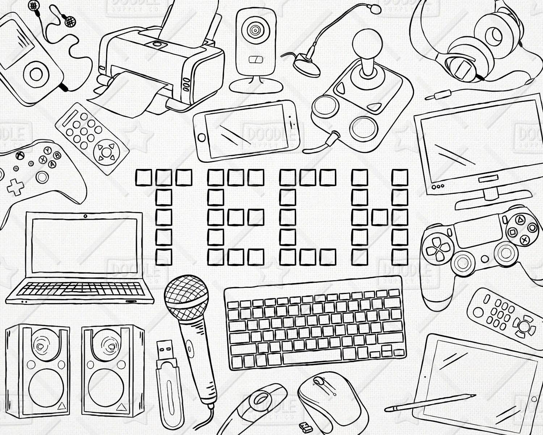 Doodle Technology Vector Pack Tech Clipart Electronics
