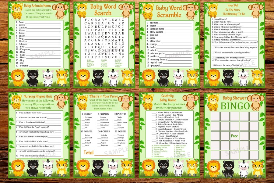 Games baby shower   Etsy SALE jungle baby shower games package  eight printable games  Baby shower  games pack  animals baby shower games Instant Download