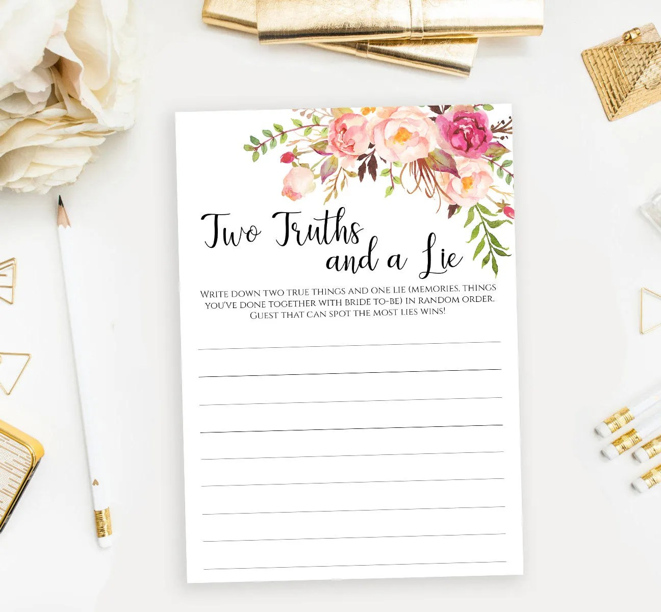 Two Truths And A Lie Game Printable Floral Two Truths One