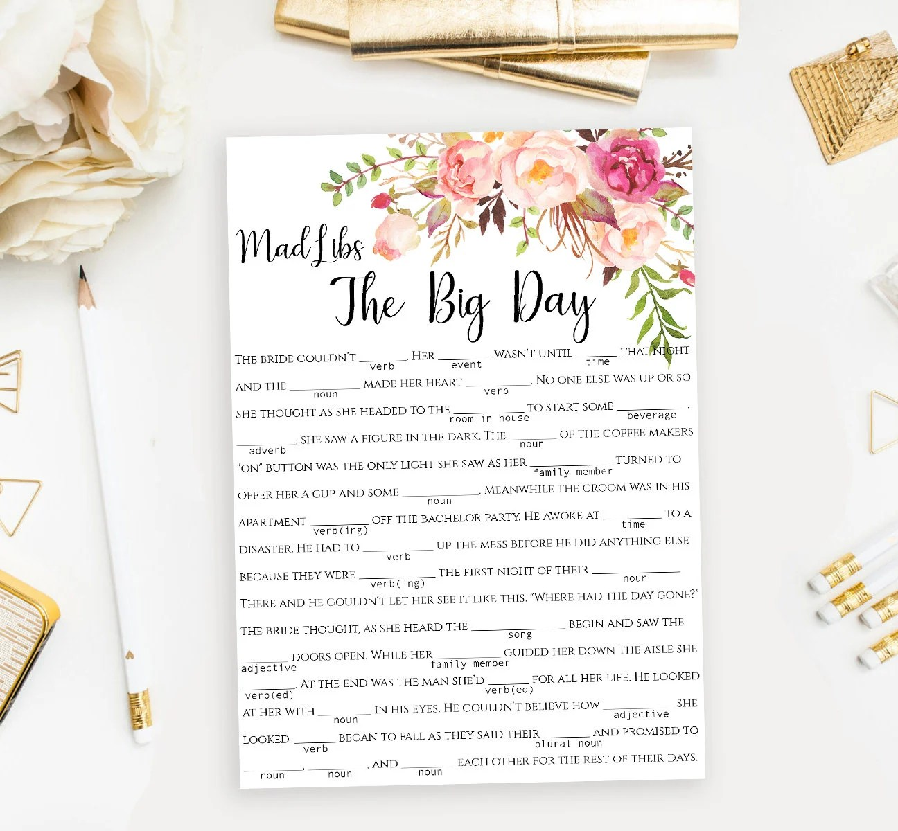 Wedding Mad Libs Story Game Printable Funny The Big
