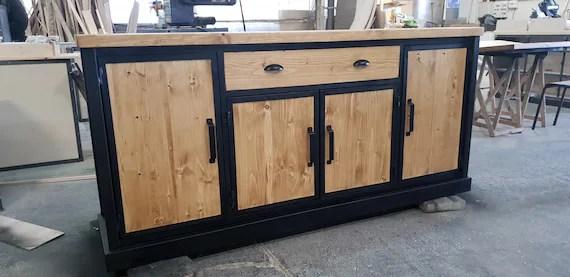 meuble industriel buffet structure en acier 4 portes en bois massif dore