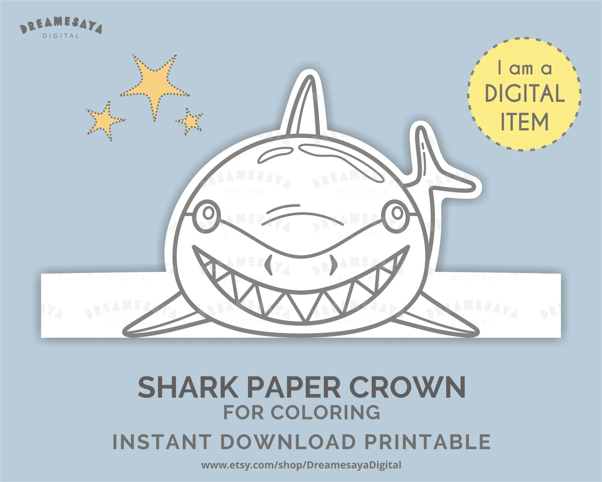 Download Shark Headpiece Diy Printable Shark Paper Hat For