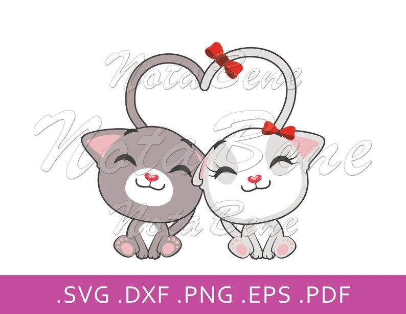 Download Cute Kittens In Love SVG Cats in Love DXF Digital Download ...