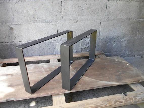 pieds de table acier plat 2 pieds de table industriels en fer plat pieds metal pour table basse et meuble h30cm l40a70cm