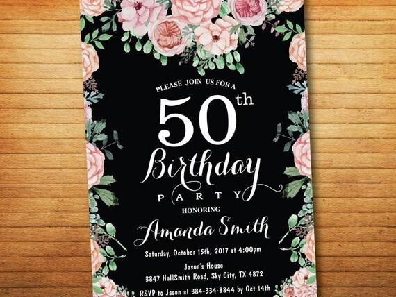 60 Geburtstags Einladung Für Frauen Blumen Geburtstag Party Einladung Tafel Bday Laden Boho Blume 30 40 50 70 80 90th Jeden Alters