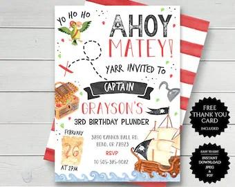 pirate invitation etsy