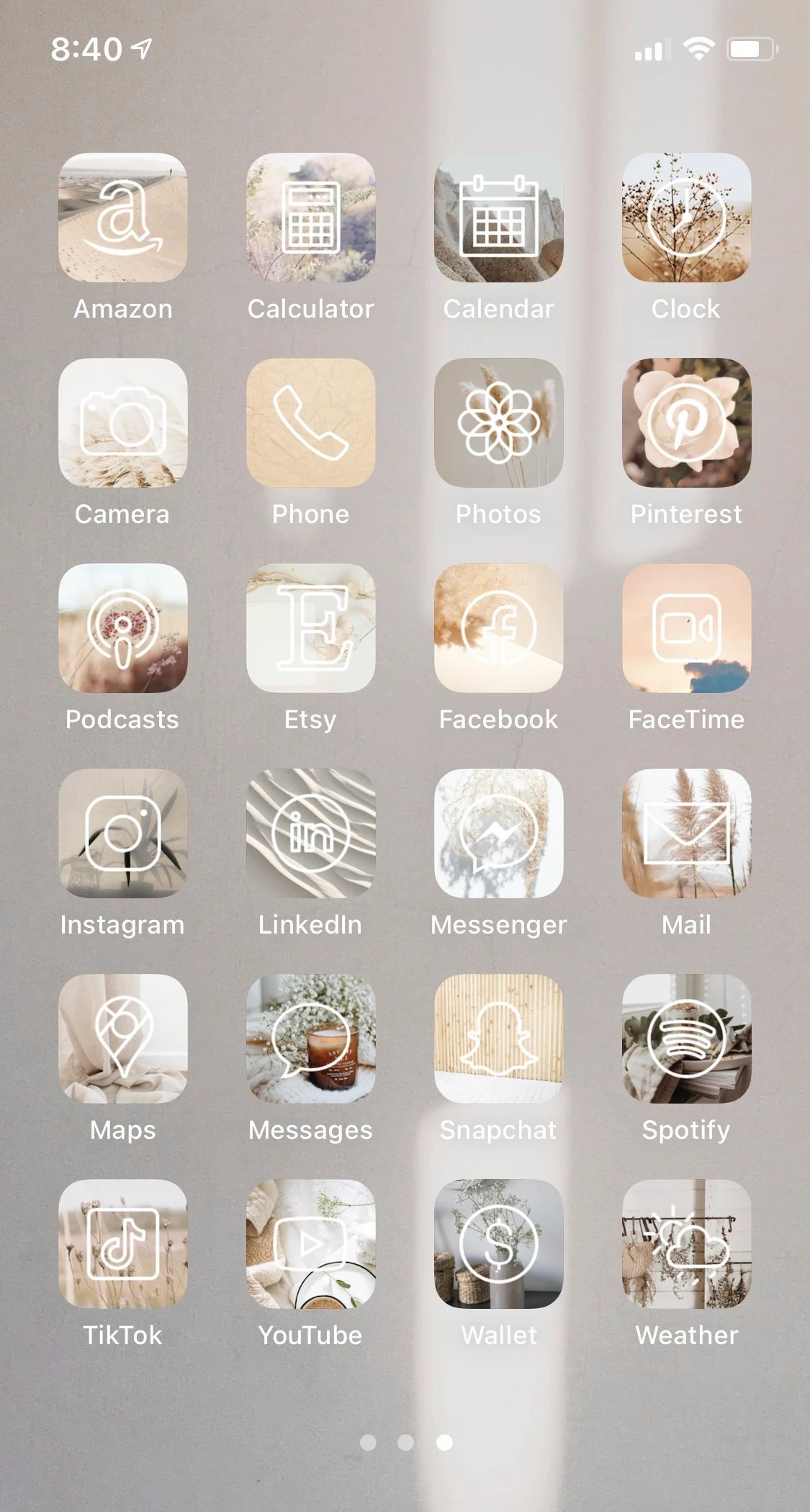 Your iphone home screen with ios 14   neutral & beige aesthetic. Neutral iPhone iOS 14 App Icons Aesthetic app icons for   Etsy