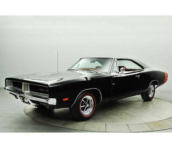 1969 dodge charger r t black car poster car print muscle car photo wall art