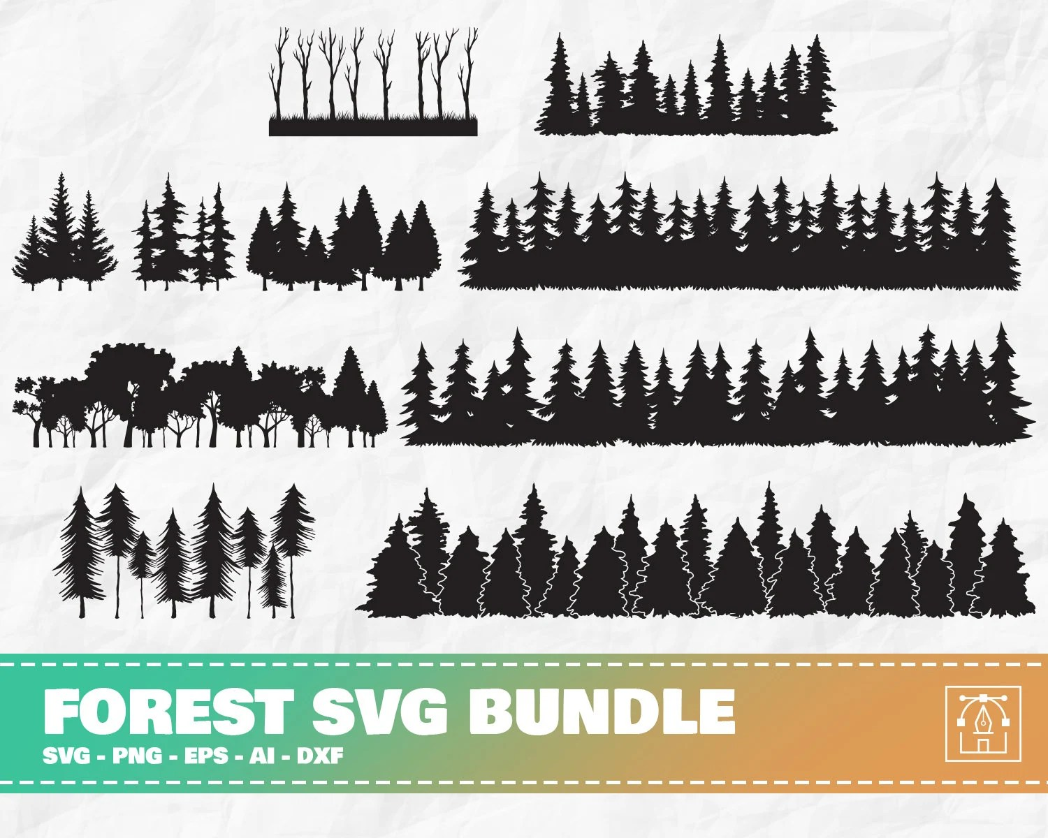 Lost in the woods clip art. Forest Silhouette Etsy