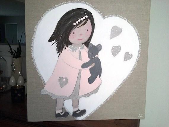 tableau decoratif en peinture pour chambre de petite fille