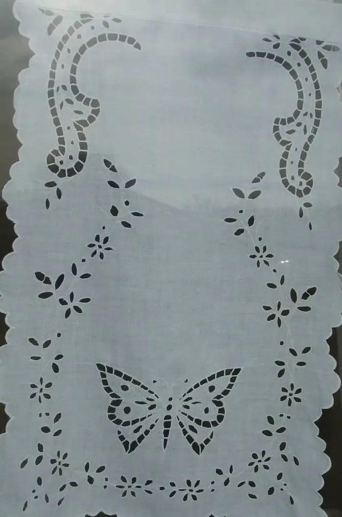 rideau brise vue brise bise en lin blanc ancien broderies richelieu main