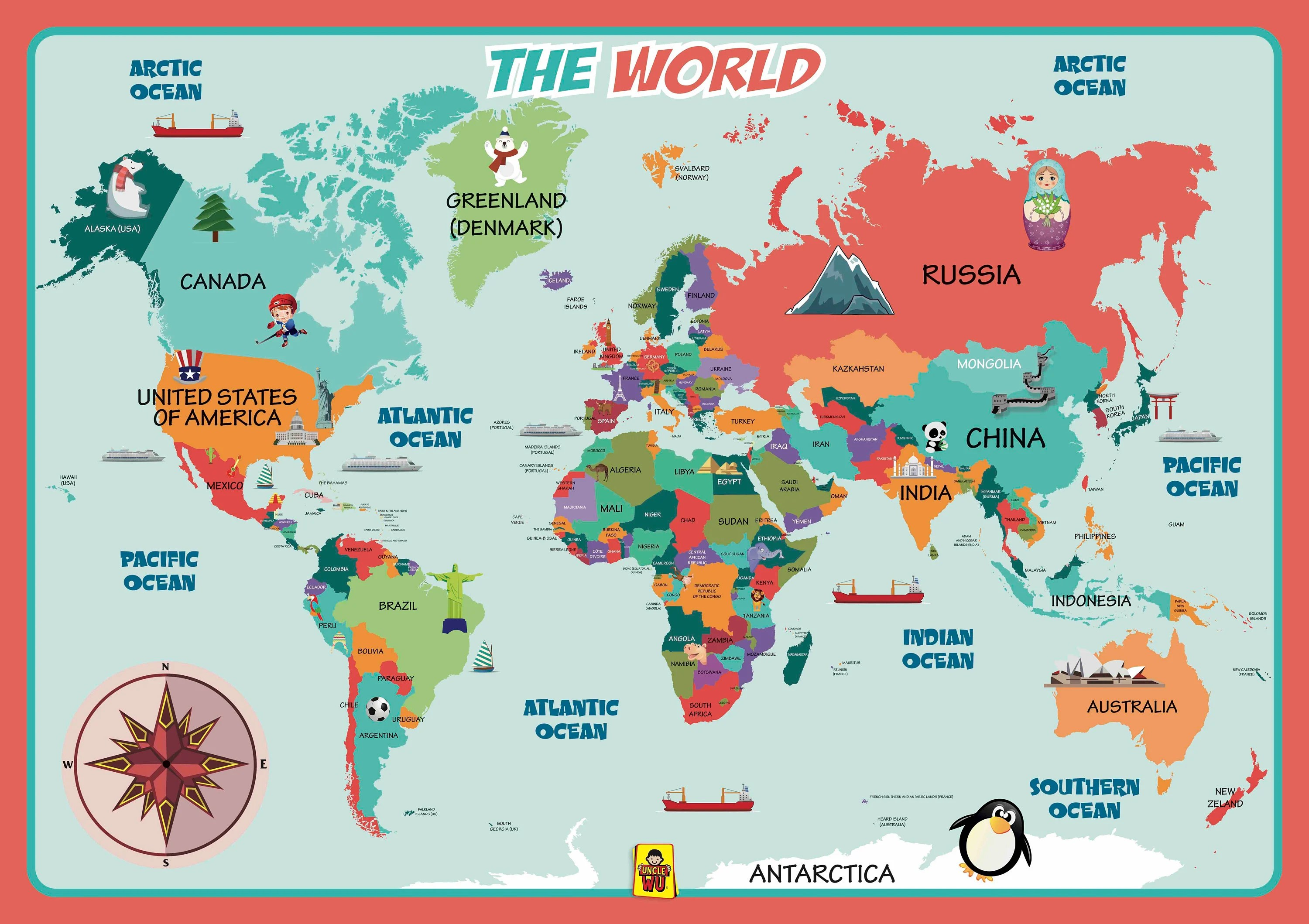 unclewu world map learning placemats wall map poster educational kids placemats