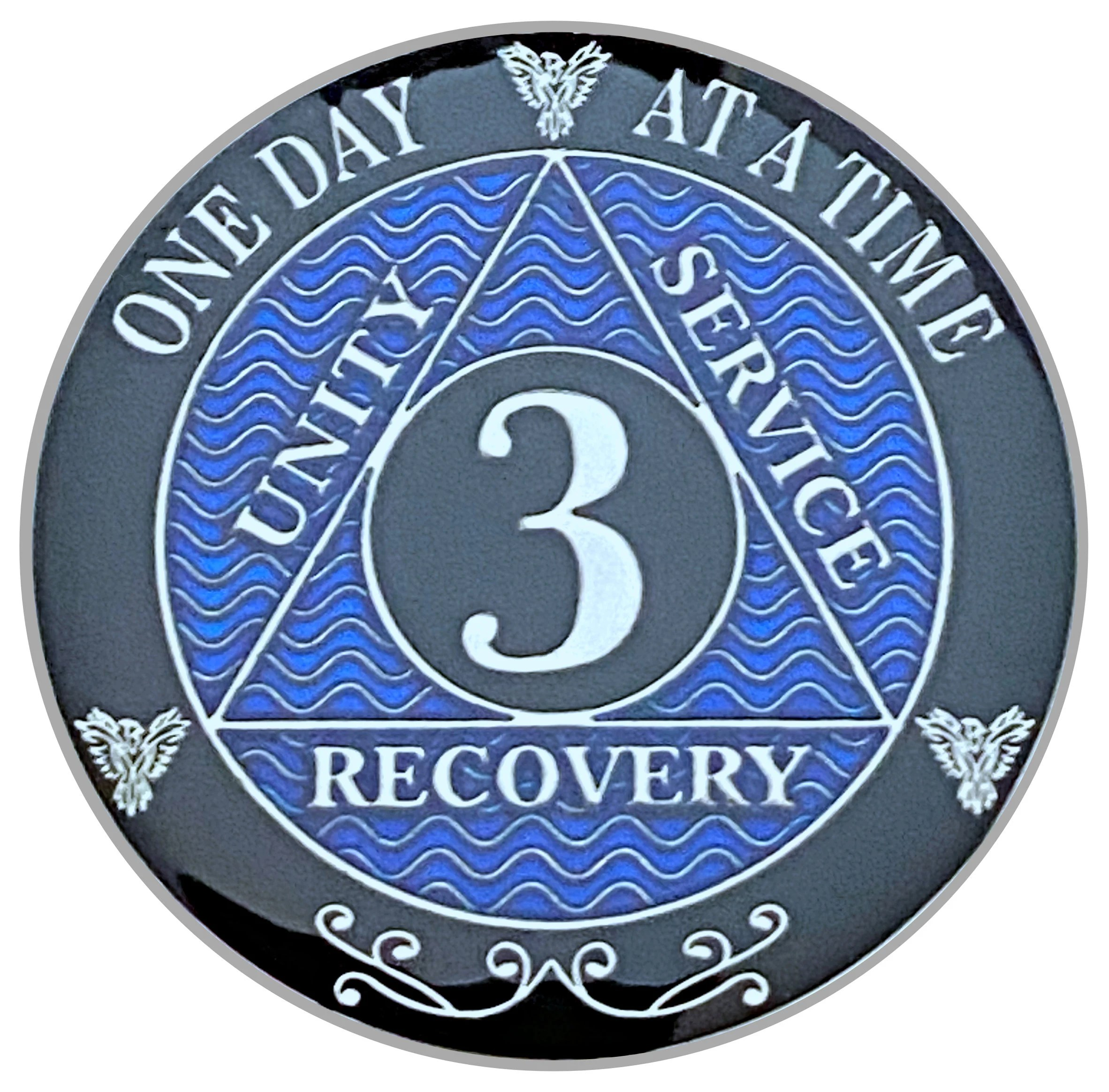 3 Year Aa Coin Silver Color Plated Medallion Recovery