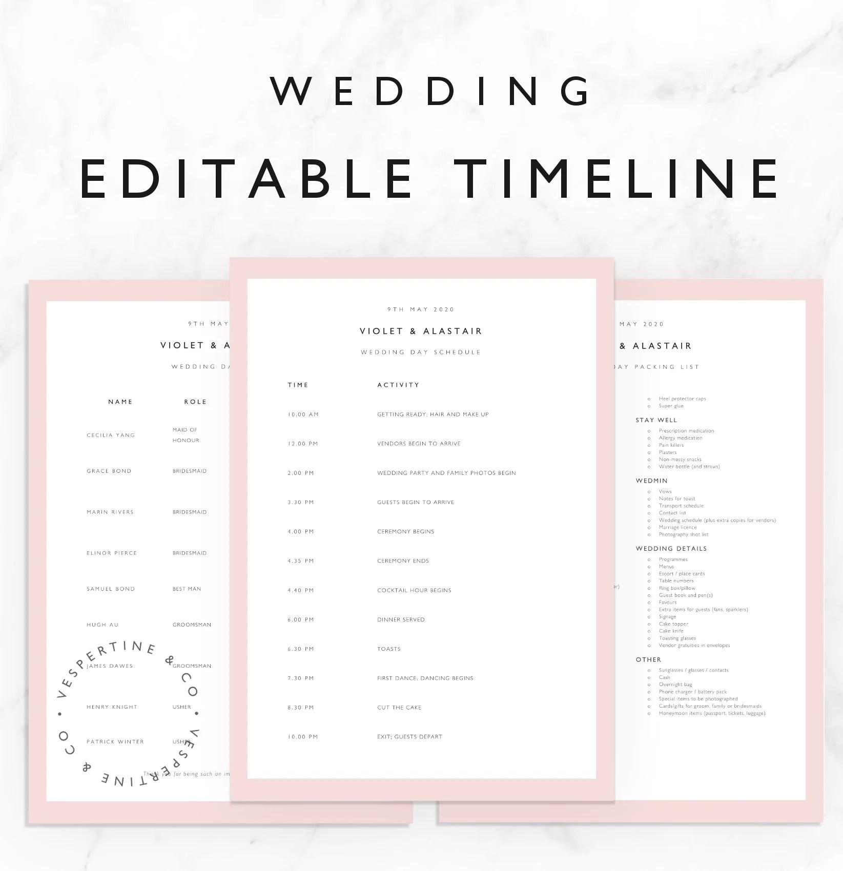 Wedding Timeline Template Bridal Wedding Day Schedule