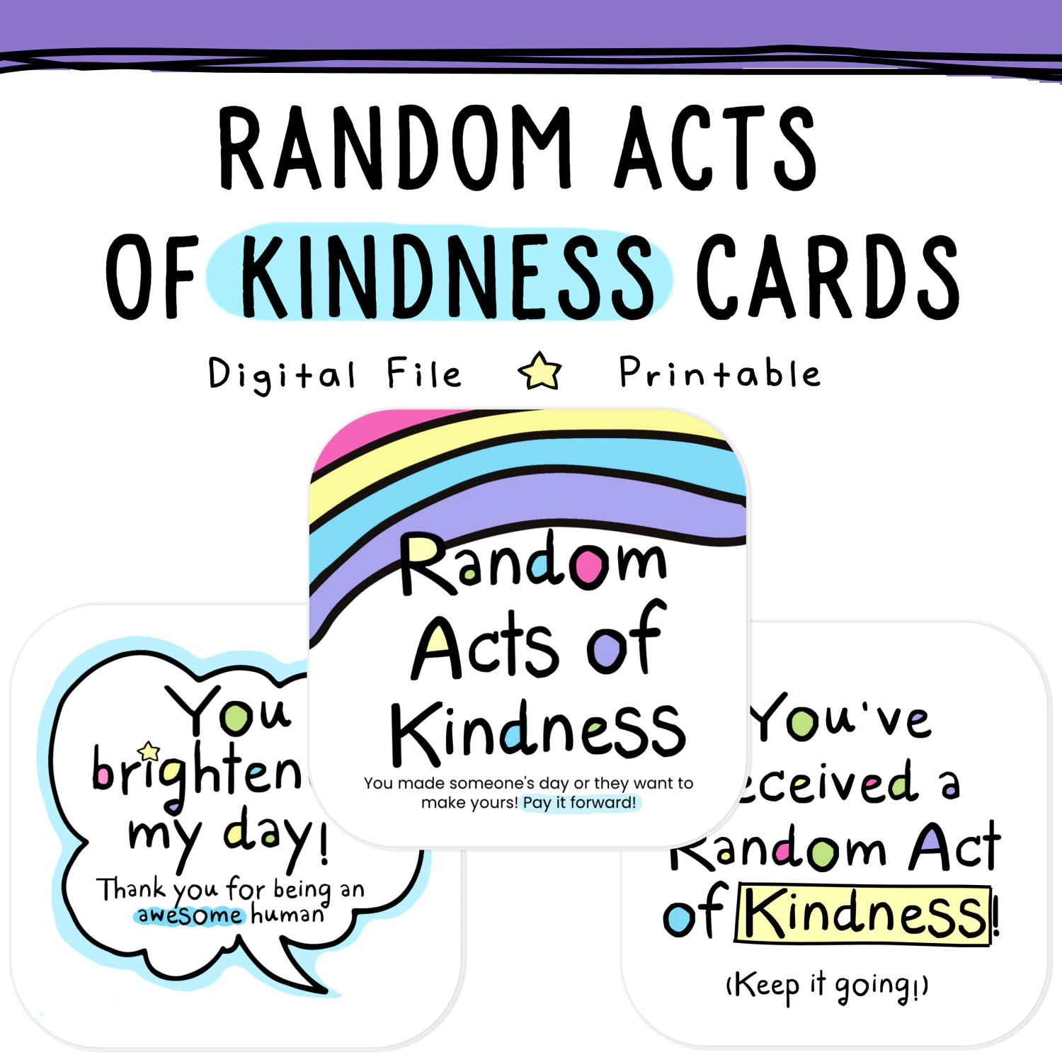 Printable Random Acts Of Kindness Cards Raok Pay It