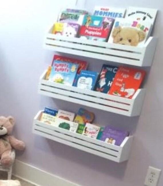 childrens book shelvesset of 3 kids book shelves hanging etsy