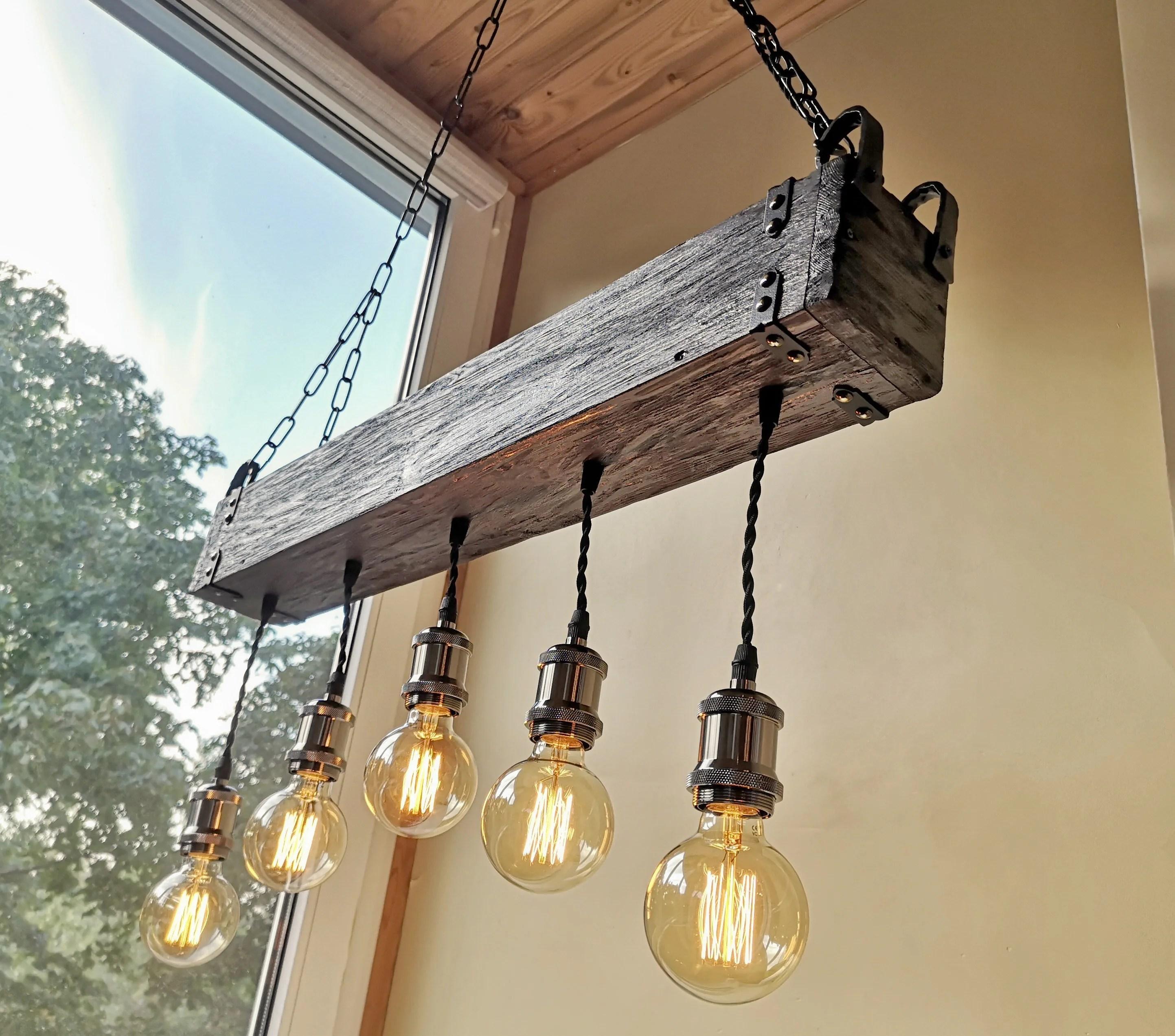 handmade beam chandelier wood beam chandelier wooden chandelier rustic lighting farmhouse pendant hanging lamp indoor lighting ceiling