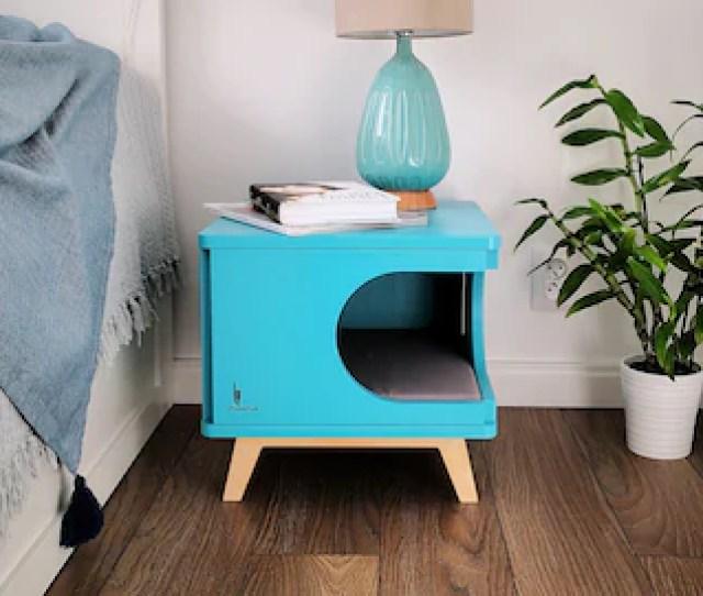 One Of A Kind Bedside Cabinet Turquoise Blue Cat House Cat Bed Modern Cat Furniture Cat Cave Maison De Chat Katzenmobel Purrfur