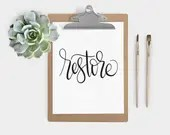 Hand Lettered Word of the Year - Restore - INSTANT DOWNLOAD