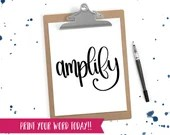 Hand Lettered Word of the Year - Amplify - INSTANT DOWNLOAD
