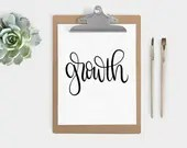 Hand Lettered Word of the Year - Growth - INSTANT DOWNLOAD