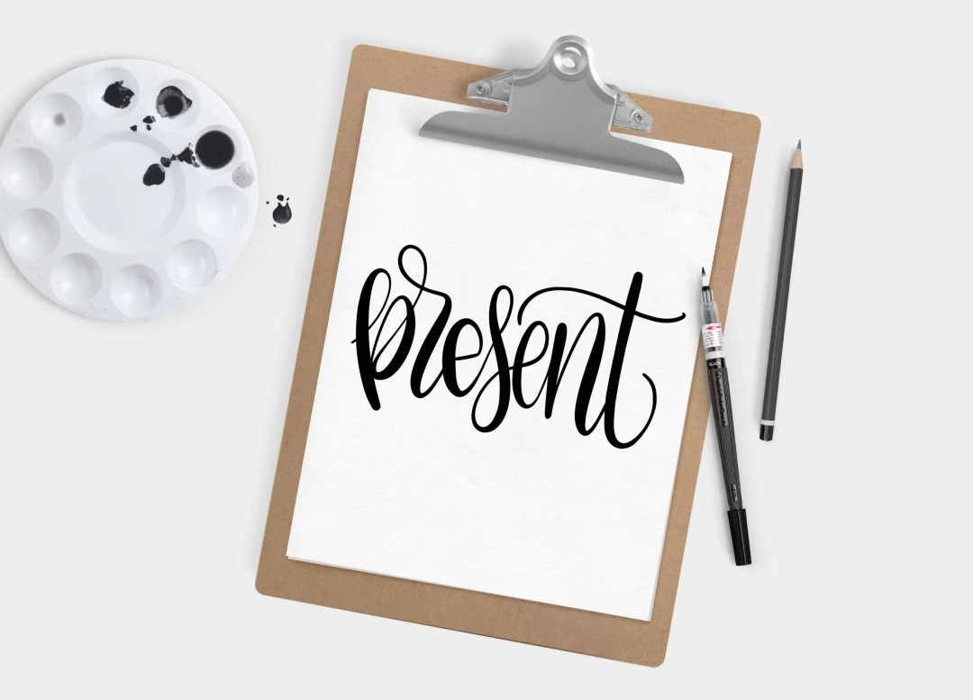 Hand Lettered Word of the Year - Present - INSTANT DOWNLOAD