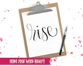 Hand Lettered Word of the Year - Rise - INSTANT DOWNLOAD