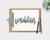 Hand Lettered Word of the Year - Possibilities - INSTANT DOWNLOAD