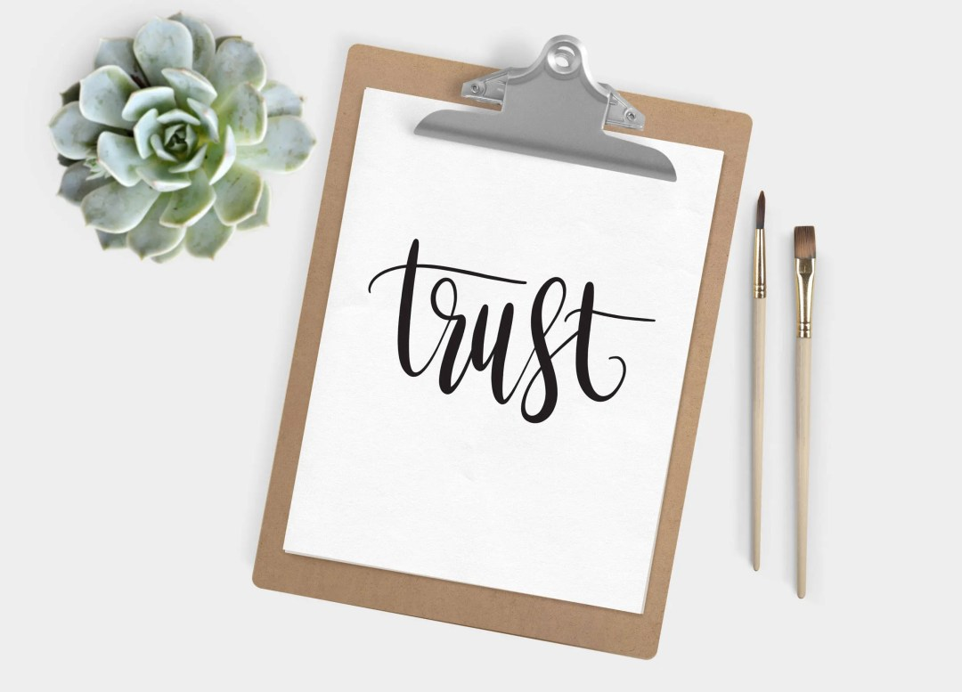 Hand Lettered Word of the Year - Trust - INSTANT DOWNLOAD