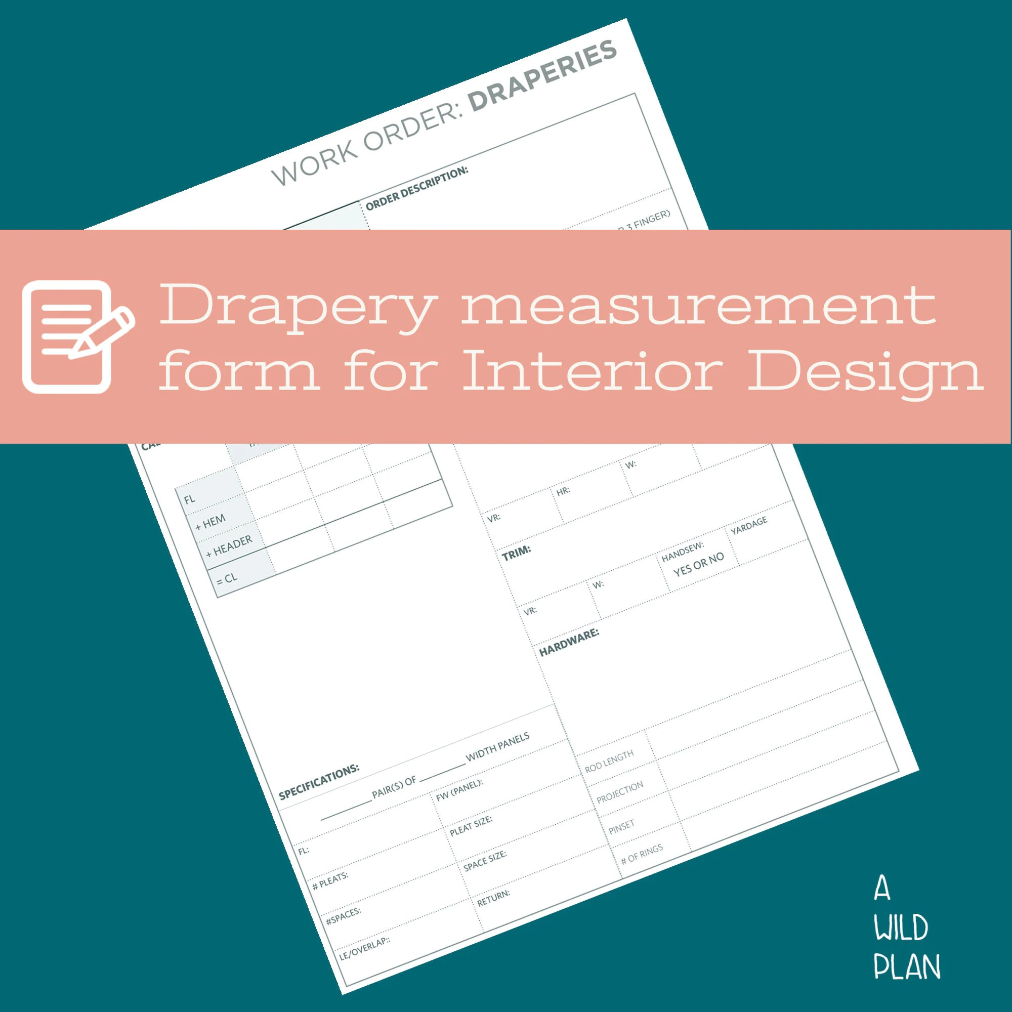This template gives you the option to update your logo and create a letterhead in the header area. Interior Design Work Order Form Template Draperies With Etsy