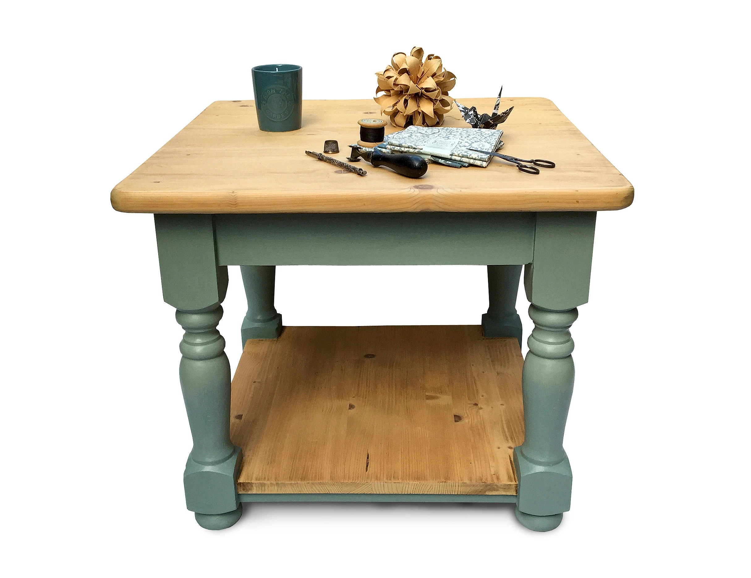 antique pine farmhouse coffee table with turned wood ombre blue painted legs two tier square elegant housewarming gift interior styling