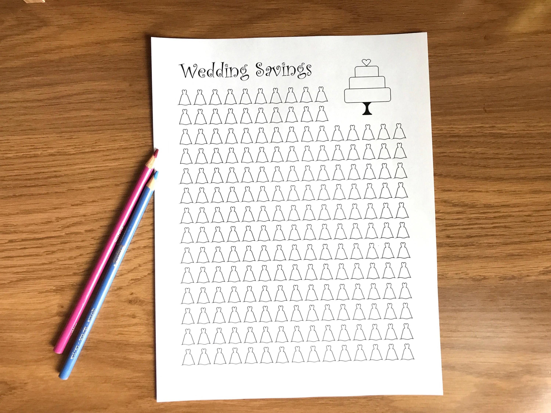 Wedding Savings Tracker Printable Coloring Sheet