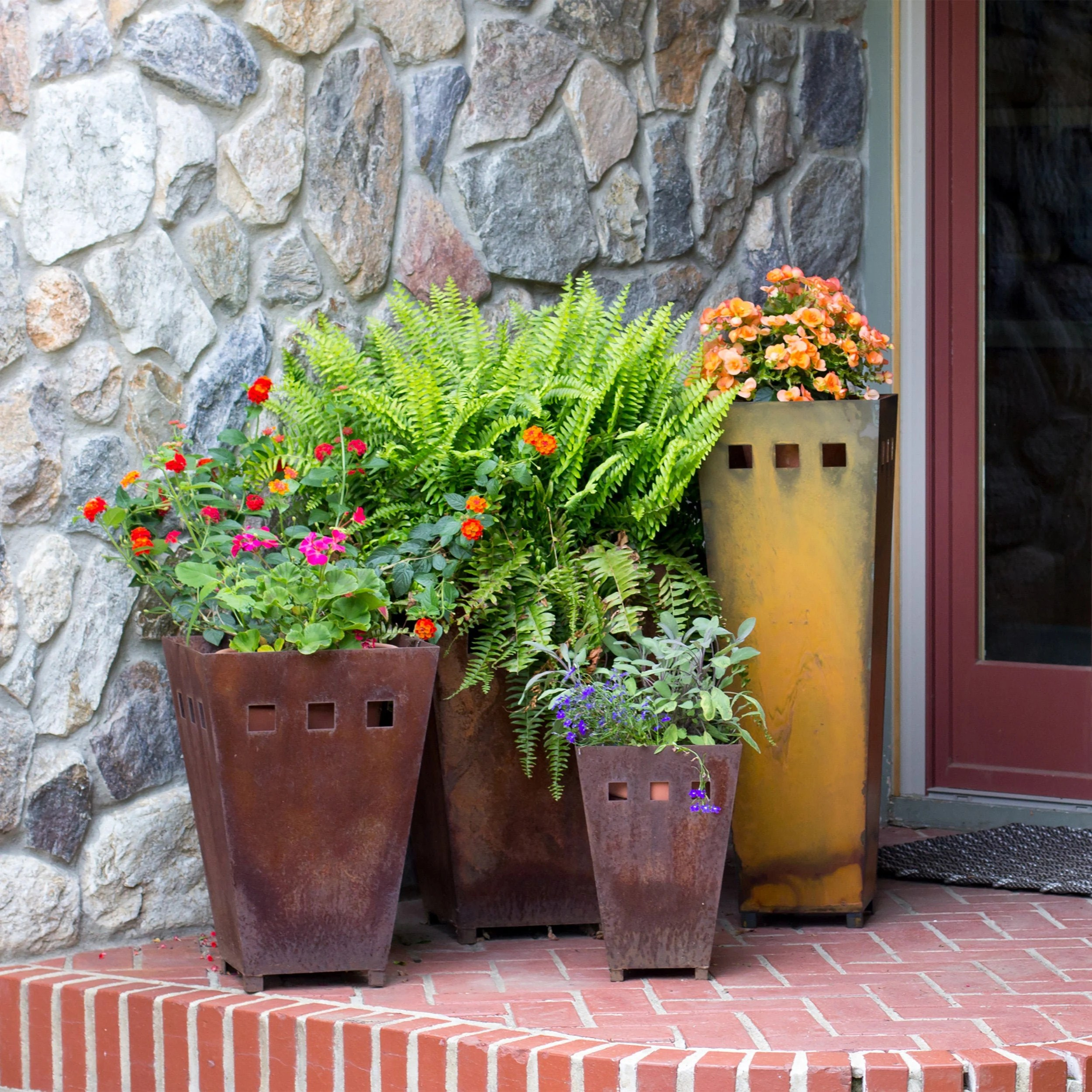 large rustic metal planter outdoor fall aesthetic garden accessories outdoor front porch metal yard art patio decor extra large planters