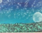 Acrylic Moon Painting with Grass