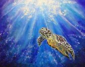 Sea Turtle in Acrylic Paint on Canvas 40 by 30cm on cotton canvas from www.ellieartwork.com you will be purchasing the original artwork