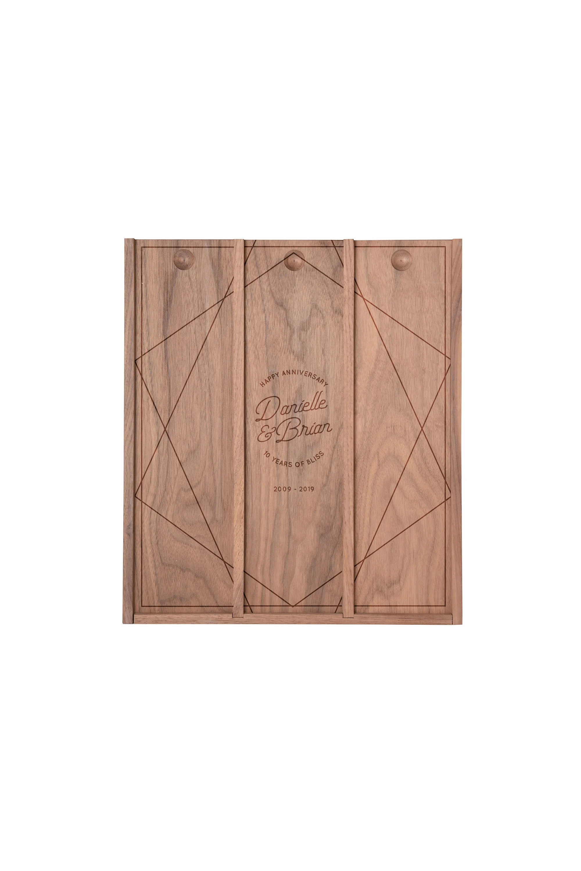 Personalized engraved anniversary wooden wine bottle box gift Walnut triple