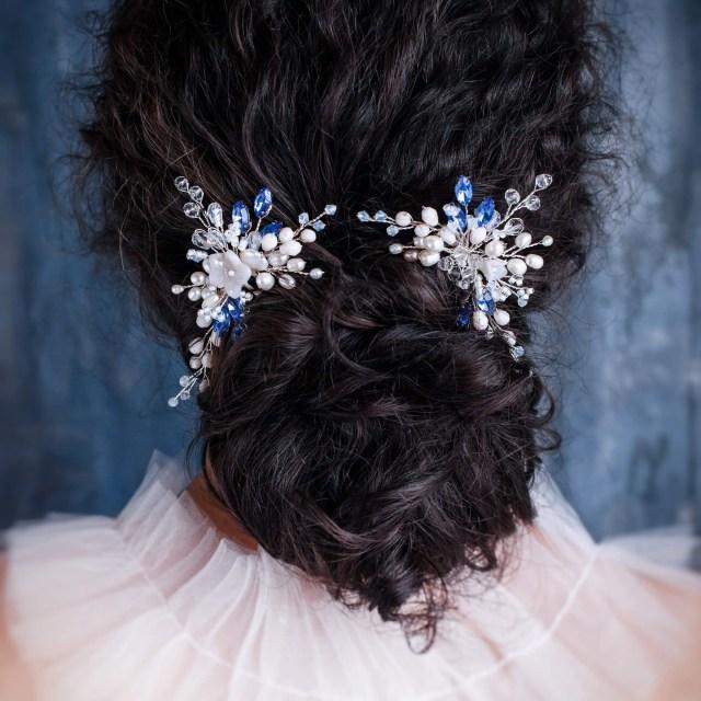 blue bridal hair comb sapphire crystal hair comb something blue hair comb royal blue wedding rhinestone headpiece navy blue hair piece