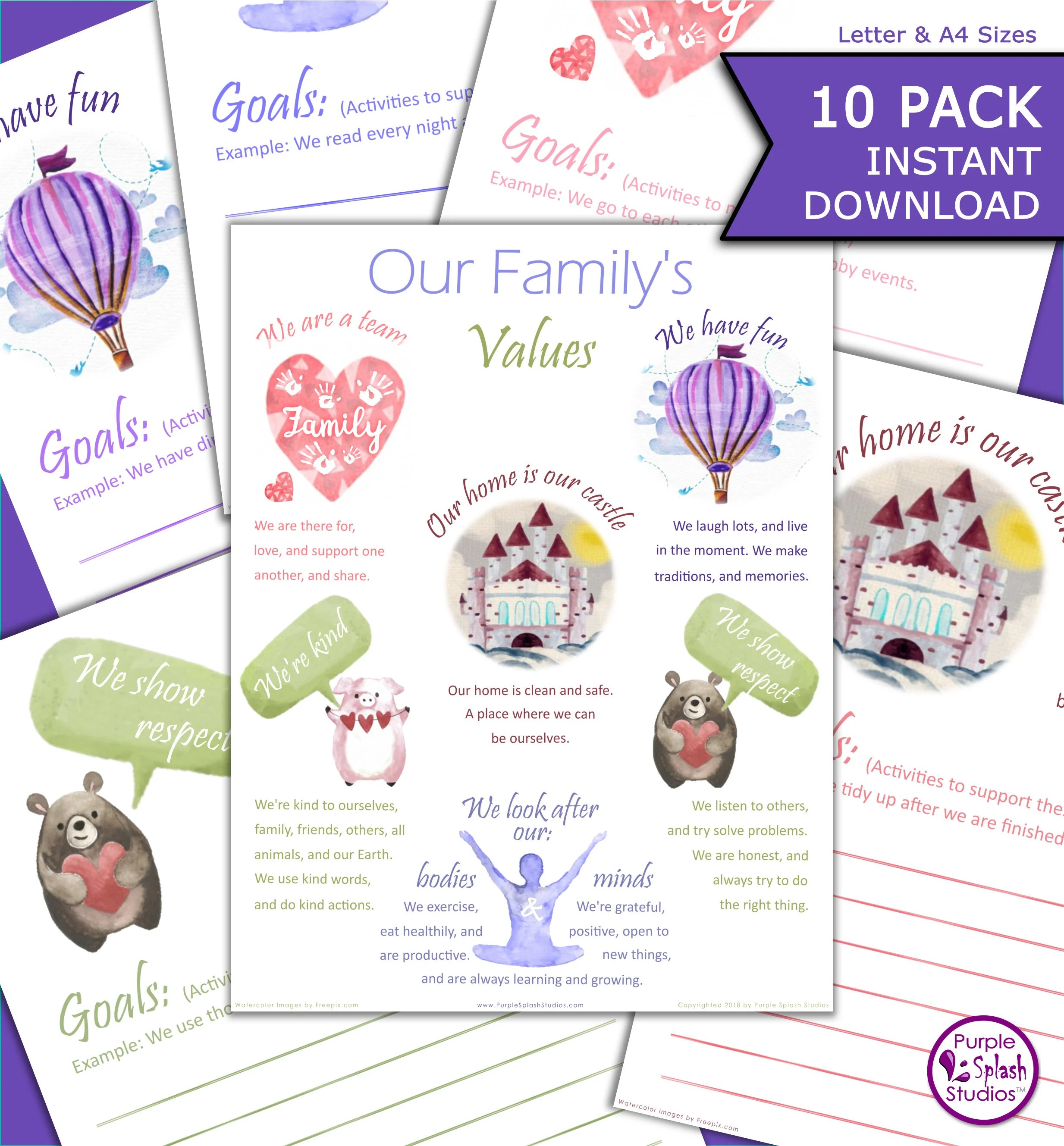 Family Values Poster Amp 9 Goal Worksheets To Bring Your