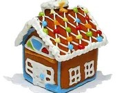 Mini Dollhouse Gingerbread House - 1:12 Scale Christmas Holiday Accessory