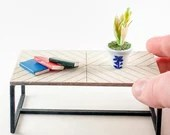 Mini Dollhouse Herringbone Coffee Table Kit - 1:12 Scale Modern Furniture - Lasercut Birch Wood DIY Craft