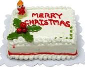 Dollhouse Miniature Christmas Holiday Cakes - 1:12 Scale Mini Food Bakery Pastry Item Snowman Holly Cake - Bakery Seasonal Miniture Dessert