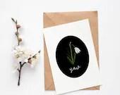 Snowdrop Card - Valentine's Day Gift - Birthday Card - Postcard - Digital Print - Christmas gift