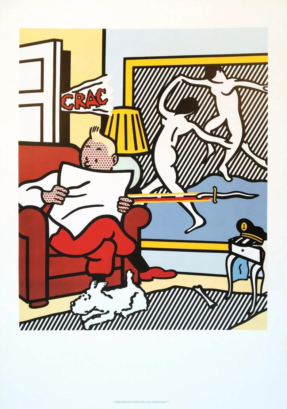 Roy Lichtenstein 'Tintin Reading' 1994 Rare vintage image 0