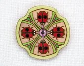 Brooch with glass crystals. Handpainted wooden finery. Gift for a Sweetheart. Romantic unique design. Estonian jewelry. Mandala pattern.