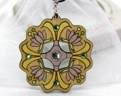 Pendant Necklace with Glass Crystals. Gift for Her. Romantic unique design. Estonian jewelry. Mandala pattern. Handpainted Plywood