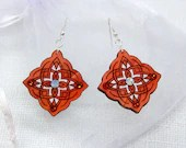 Wooden earrings with glass crystals. Handpainted romantic unique design. Gift for Her. Estonian jewelry. Mandala pattern. Plywood jewelry.