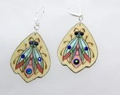 Wooden earrings with glass crystals. Fantasy Insect pattern. Handpainted unique design. Gift for Her. Estonian jewelry. Plywood jewelry.