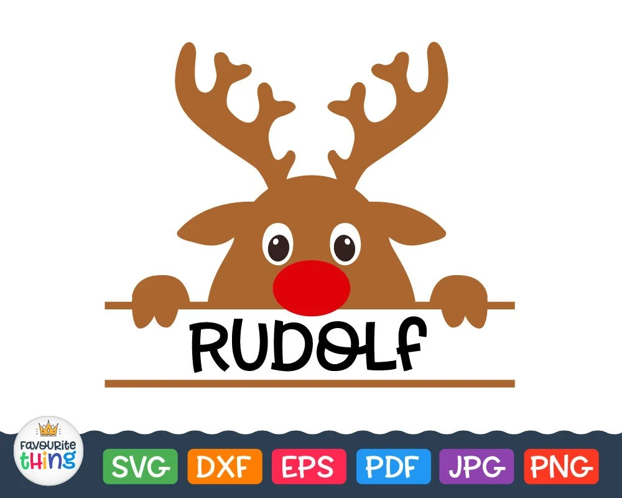 Reindeer Rudolph Christmas Monogram Svg Separate Frame For